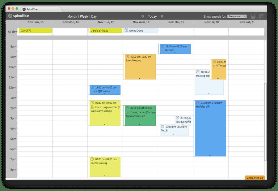 SpinOffice Calendar
